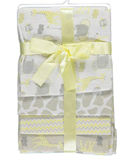 CRIBMATES 4-Pack Flannel Receiving Blankets - Yellow/White Safari Themed 28