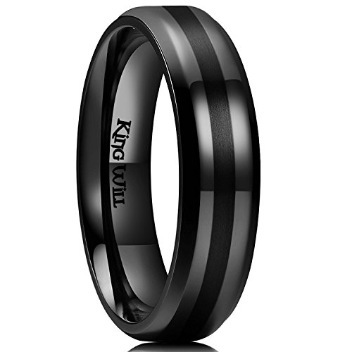 King Will Classic 7mm Black Titanium Ring Wedding Band for Men Women Center Brushed Beveled Edge(10.5) ()