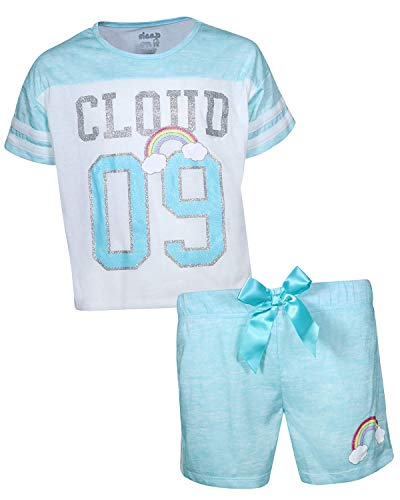 Sleep On It Girls Sleepwear Short Sleeve Tee and Shorts Pajama Set , Cloud 09/Turquoise, Size - Clouds T-shirt Juniors