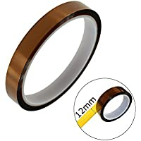 """LUTIONS High Temp Tape Kapton Polyimide Tape with Silicone Adhesive 1/2"""" (12mm) x 36yds for 3D Printing, Soldering…"""