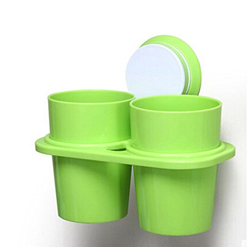 Angle Simple Bathroom Double Tumbler Holders Suction Toothbrush Holder Green