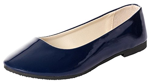 - IF FEEL Women's Casual Pointy Toe Comfortable Slip On Patent Leather Ballerina Flats Shoes (7.5 B(M) US, Dark Blue)