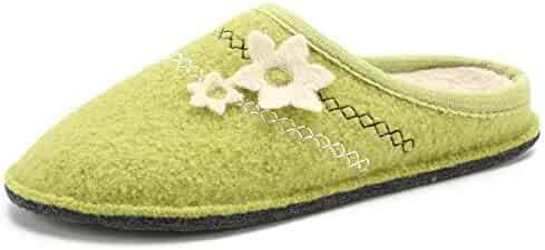 caea61c9f9741 LE KAPMOZ Women's Breathable Boiled Wool Slippers Winter Warm Slip on House  Shoes for Lady Indoor