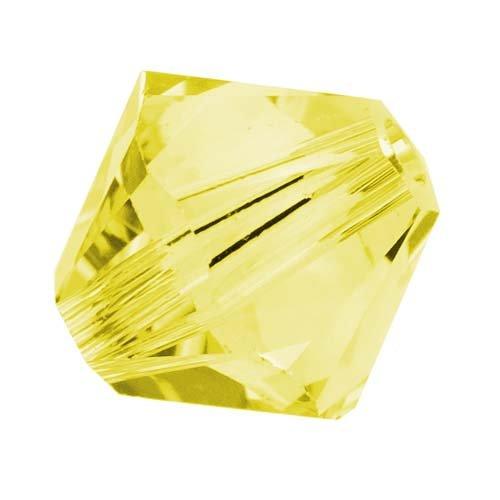 Swarovski Crystal, #5328 Bicone Beads 6mm, 20 Pieces, Citrine Yellow