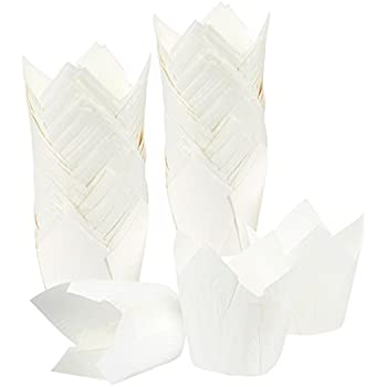 Cupcake Liners Tulip 100-Piece - Bulk Decorative Paper Cupcake and Muffin Baking Cups for Weddings, Birthdays, Baby Showers, White
