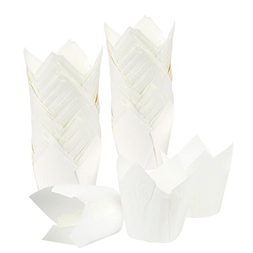 Cupcake Liners Tulip 100-Piece - Bulk Decorative Paper Cupcake Muffin Baking Cups Weddings, Birthdays, Baby Showers, White