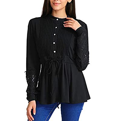 Women Casual Lace Panel Crinkle Top Chest Peplum Ruched Pleats Bandage Blouse