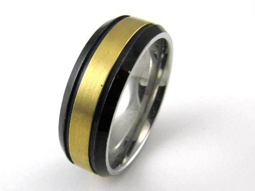Stainless Steel 8mm with Gold Plated Center and Black Plated Edge Band