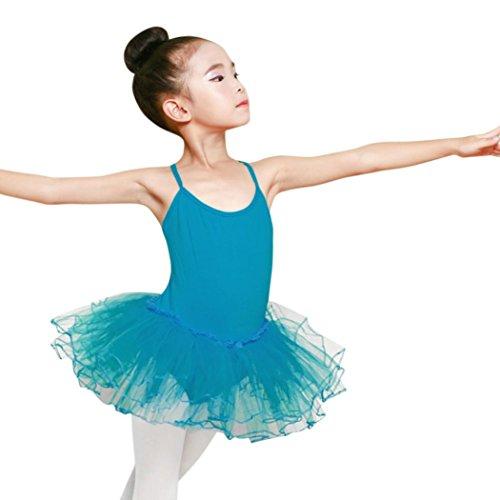 Justaucorps Ballet Bleu Mode Puff À Jupe Mignonne Fille Tutu Adeshop Costumes Pratique Fronde Rond Robe Col Enfant Danse Été La Costume Casual Siamois Bwz1g5
