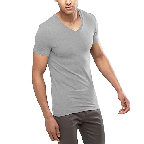 OA Men's Extreme V Neck Muscle Fit T-Shirt With Deep Skinny Cut Tee In Grey S Stretch Muscle T-shirt