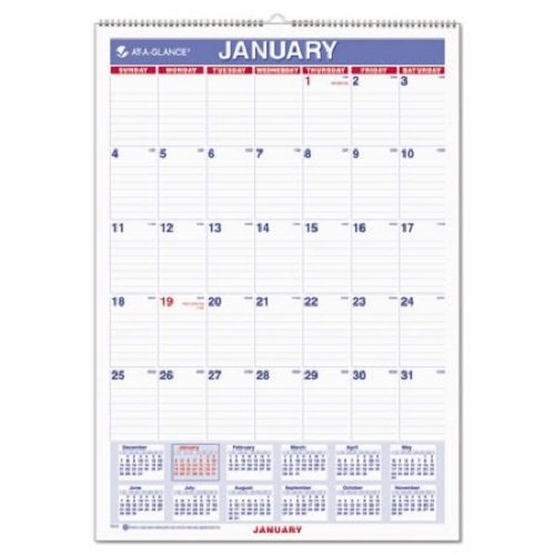 "AT-A-GLANCE Wall Calendar 2017, Monthly, 12 x 17"", Ruled, Wirebound (PM2-28) Pack of 2"