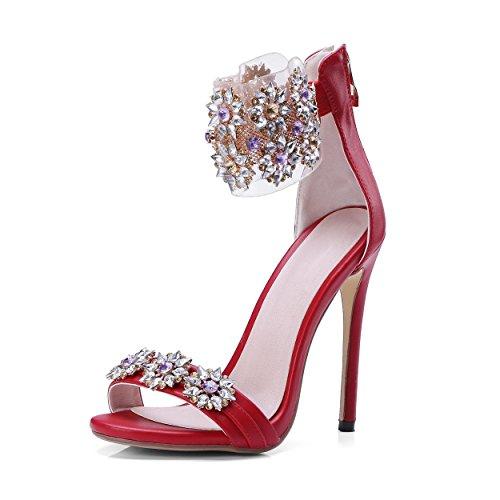 Jf Womens Sandali Tacco Alto In Cristallo Con Fiore Peep Toe In Pizzo Rosso