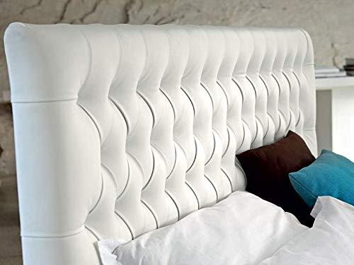 SUENOSZZZ- Cabecero Copenhague tapizado en Polipiel con Capitone Real. Color Blanco (Camas 90