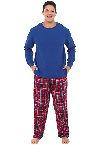 Alexander Del Rossa Mens Flannel Pajamas, Thermal Knit Top Cotton Pj Set, 2XL Blue Red and Green Christmas Plaid - Green Front Clear Thermal