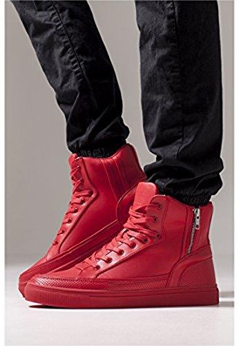 Cerniera Alta Scarpe Classiche Urbane Streetwear Scarpe Uomo Rosso Fuoco