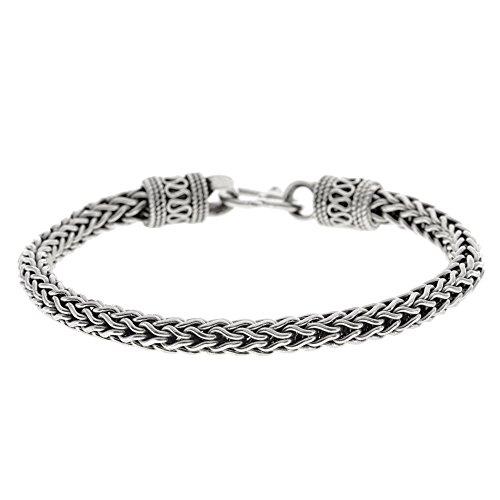 Chain Foxtail Bracelet (Silverly Women's Men's .925 Sterling Silver Balinese Oxidised Foxtail Chain S Hook Bracelet, 20 cm)