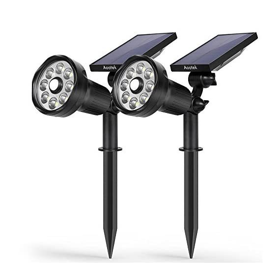 New 3rd Generation Motion Sensor Solar Spotlight 8 LED Adjustable 3-in-1 Lighting Auto On/Off Waterproof Outdoor Landscape Lighting Security for Outside Patio Yard Garden Driveway - New 3rd Generation with Built-in Upgraded Motion Sensor which can detect people up to 25 feet within 120 degrees. SUPER BRIGHT 8 LED SOLAR LIGHTS: 8 LED Design provides a super bright level of illumination for a wide area. A 2200 mah rechargeable lithium-ion battery makes it brighter and more durable than other similar solar lights in the market 3-in-1 Intelligent Energy-saving Lighting Modes all mode Auto on at dusk and off at sunrise; 1. dim lightmode 2. dim + bright when motion detected: 3. hight bright Mode - patio, outdoor-lights, outdoor-decor - 41U2fyF%2BfoL. SS570  -
