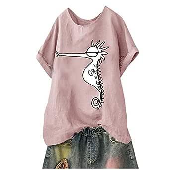 KPILP - Camiseta de Manga Corta para Mujer, de algodón y Lino, con ...