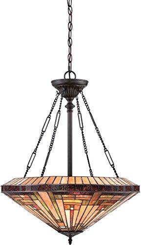 (Quoizel TFST2822VB Stephen Tiffany Bowl Pendant Ceiling Lighting, 4-Light, 400 Watts, Vintage Bronze (28
