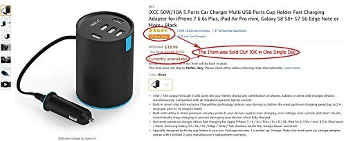iXCC UL Certified 50W/10A 5 Port Car Charger, Cup Holder Multi USB Car Charging Port, Univeral Fast Charger Adapter for iPhone 8 7 6s Plus, iPad Air Pro mini, Galaxy 9 for Family Road Trip by iXCC (Image #6)