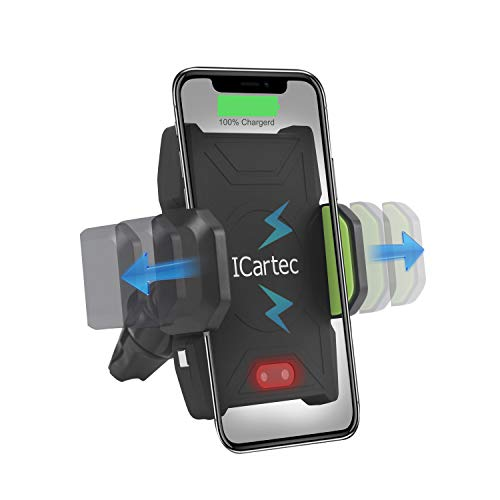 10W Wireless Car Charger, Wireless Fast Car Mount, Air Vent Phone Holder, Fast Charge for Samsung Galaxy S9, S9 plus, S8, S8 plus,note 8, note 5, Standard Charge for iPhone X, iPhone 8, iPhone 8 Plus by ICartec