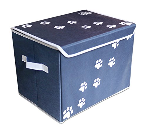 """Feline Ruff Large Dog Toys Storage Box 16"""" x 12"""" Pet Toy Storage Basket with Lid. Perfect Collapsible Canvas Bin for Cat Toys and Accessories Too! (Blue) from Feline Ruff"""