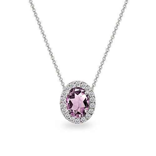 Alexandrite Slide (Sterling Silver Simulated Alexandrite Oval Halo Slide Pendant Necklace with CZ Accents)