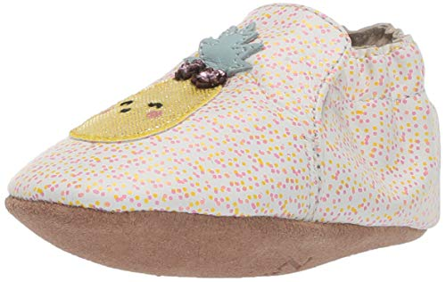 Robeez Girls' Soft Soles Crib Shoe, Happy Fruit Ecru, 12-18 Months