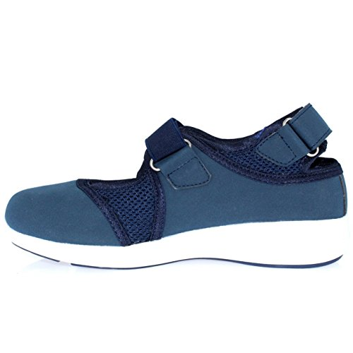 Womens Velcro White Mary Out Navy Walking Lightweight Cut Trainers Sport Jane Strap 44FnqZAr