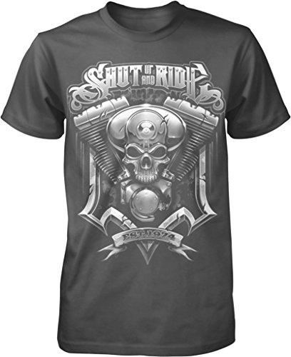 Shut up and Ride, Motorcycle Lover, Custom Chopper Men's T-shirt, NOFO Clothing Co. XL ()