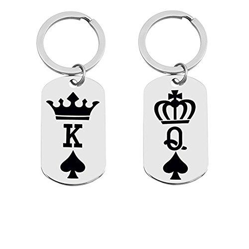 ce Pendant Titanium steel K&Q Crown Puzzle Matching Set Anniversary Promise Gifts (Keychain set) (Titanium Puzzle)