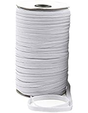 1 Roll(100Yard/91Meters) Braided Elastic Cord String/Stretch Thread Rubber Farbic Cord/Elastic Band/Knit Elastic Spool for DIY Clothing Making Accessories (White, 0.6cm)