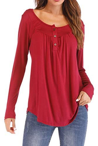 Loose Longues Couleur Tops Pullovers Plisse Manches Casual Chemisier Unie Shirt T BLACKMYTH Rouge Femme Bouton Vin zxaISwqnFE