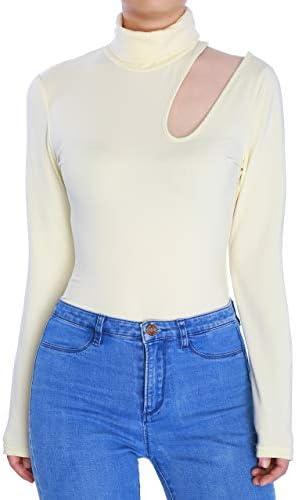 May/&Maya Womens Sleek Turtleneck Cutout Shoulder Bodysuit