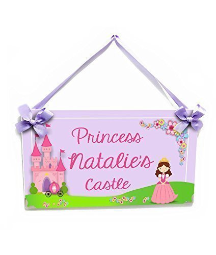 Girls Room Name Door Sign Cute Pink and Purple Accents Princess Theme - Plaque Princess Personalized