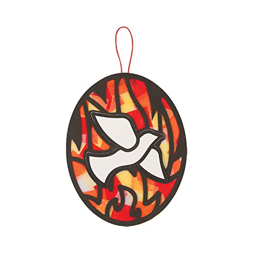 Fun Express - Pentecost Tissue Acetate ck for Easter - Craft Kits - Hanging Decor Craft Kits - Tissue Paper Crafts - Easter - 12 Pieces