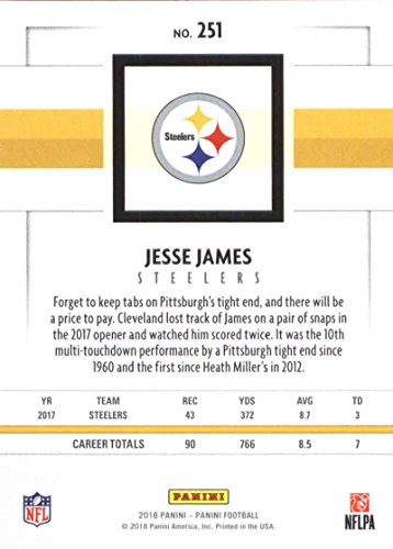 892653921 Amazon.com  2018 Panini NFL Football  251 Jesse James Pittsburgh Steelers  Official Trading Card  Collectibles   Fine Art
