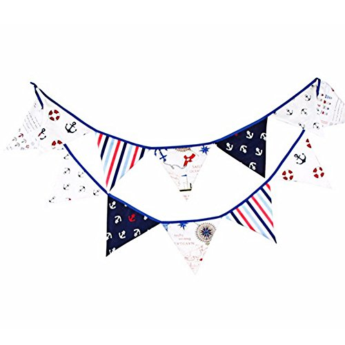UEB DIY Banner Decoration, 12 Flags 3.2m Pirate Theme Cotton Fabric Bunting Pennant Flags (Pennant Fabric)