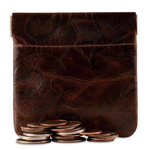 Classic Leather Squeeze Coin Purse change Holder For Men, Pouch size 3.5 in. across X 3.25 in. high By Nabobb (Venetian Brown Leather)