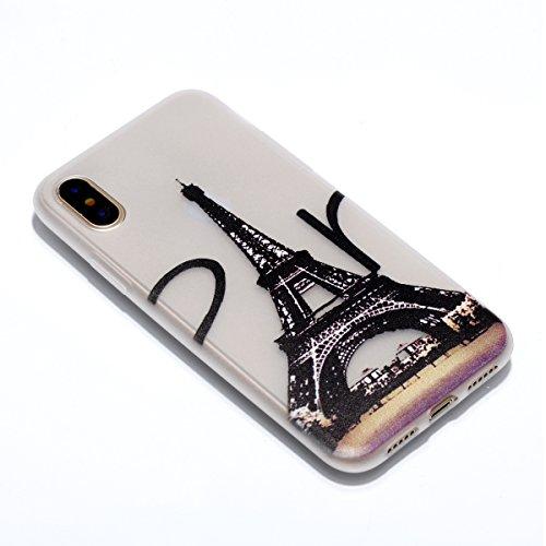 iPhone X Hülle , Leiai Mode Turm Fluoreszenz TPU Transparent Weich Tasche Schutzhülle Silikon Handyhülle Stoßdämpfende Schale Fall Case Shell für Apple iPhone X