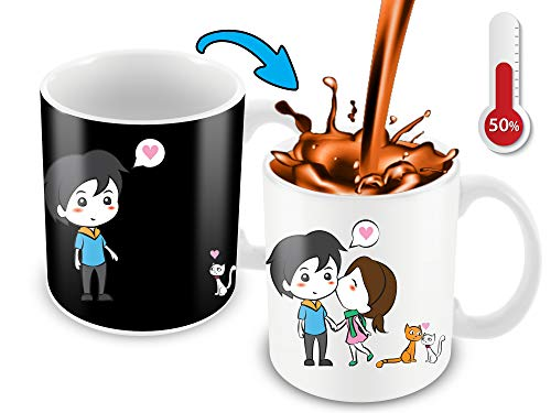 Heat Sensitive Mug | Color Changing Coffee Mug | Funny Coffee Cup | Lovely Cartoon Couples And Cute Cats | Birthday Gift Idea For Him Or Her, Mother' Gift For Mom And Father's Day Gift For Dad]()