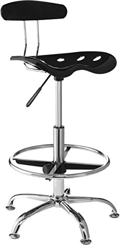 OneSpace Drafting Stool with Tractor Seat, Black - High Back Drafting Stools