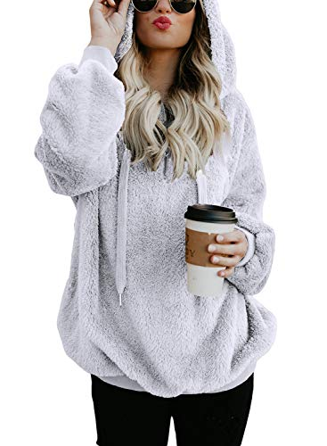 Dokotoo Womens Fashion Winter Cozy Warm Fuzzy Casual Loose Sweatshirt Hooded Fleece Pullover Sweater Pockets White Small by Dokotoo