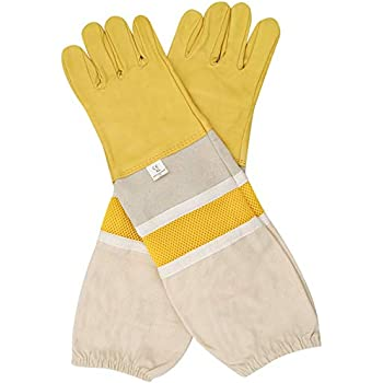 Practical White Sheepskin Canvas Sting Bee Protective Gloves Apiculture Supply