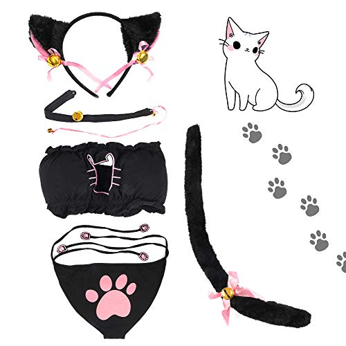 Beelittle Women's Cat Cosplay Lingerie Set Cute Anime Kitten Costume Outfit (Small, Black) -