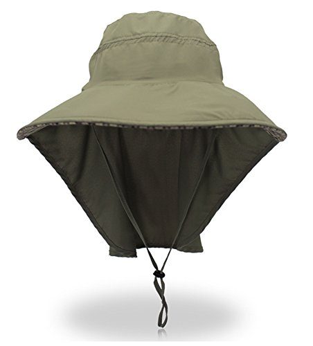Wide Brim Fishing Hat Outdoor Sun Protection Hat with Neck Flap for Safari Camping Hiking Hunting Boating and Outdoor Adventures (Round Flap)