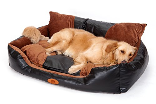 PLS Deluxe Lounger Faux Leather Bolster Pet Bed (Large, 28Wx36L), Dog Bed for Large Dogs, Faux Leather and Brown Suede Fabric, Removable Covers, Modern Design, Durable