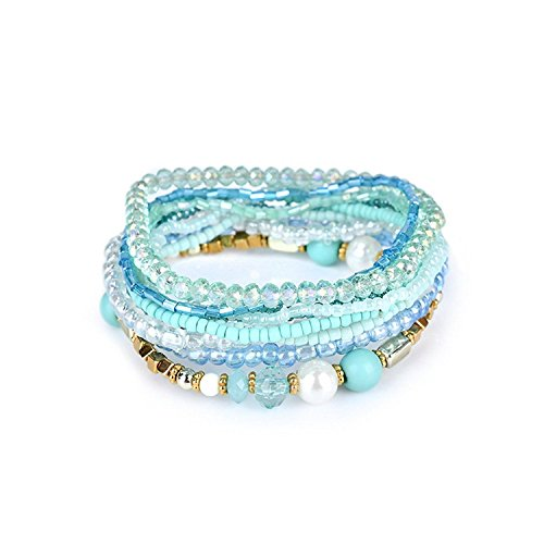 lancy's jewelry Charm Bead Bracelet Bohemian Crystal Colorful Stretch Bead Multilayer Bracelets for Women&Girl Blue ()