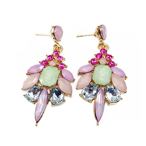 M-Egal Crystal Hanging Drop Dangle Earrings for Women Antique Pendant Wedding Banquet Pink
