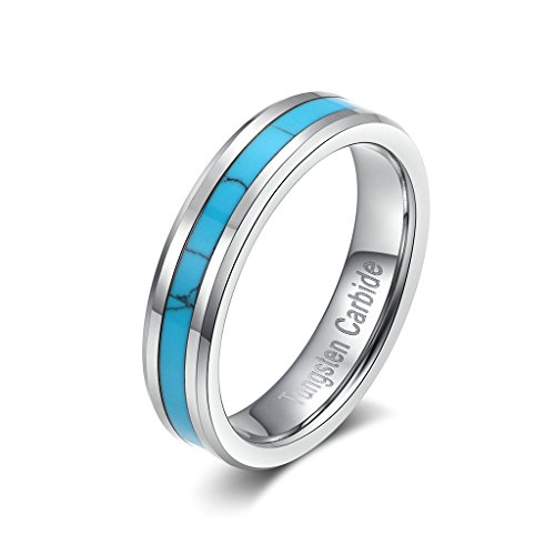 Blue Turquoise Inlay Ring - Tianyi 5mm Tungsten Steel Men Women Ring Blue Turquoise Inlay Polish Beveled Band Size 7